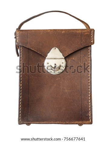 Antique brown leather bag / Isolated white