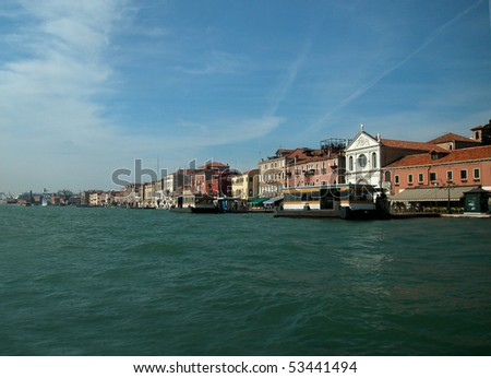 Antique buildings along San Marco Canal in Venice - stock photo