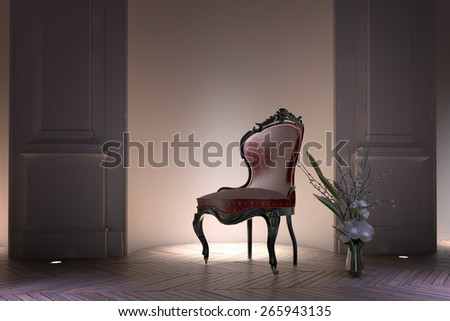 Antique bustle back Victorian armchair illuminated by a spotlight standing in a recessed alcove in a formal house interior with floral arrangement on the parquet floor alongside. 3d Rendering - stock photo