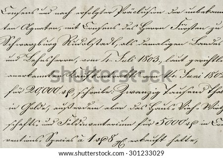 Antique calligraphic handwriting. Old ink manuscript. Grunge vintage paper background. Old handwriting - stock photo