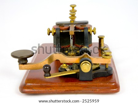 "Antique ""Camelback"" Morse key and sounder (c1860) - stock photo"