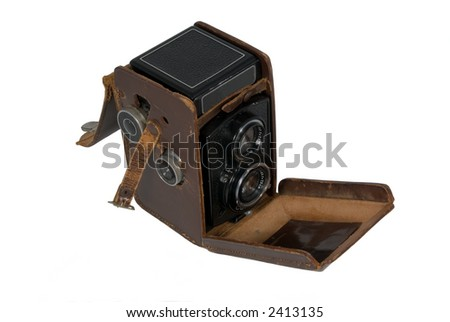 Antique Camera in Worn Leather Case Isolated on White Background - stock photo