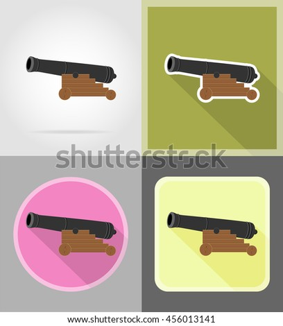 antique cannon flat icons illustration isolated on white background - stock photo