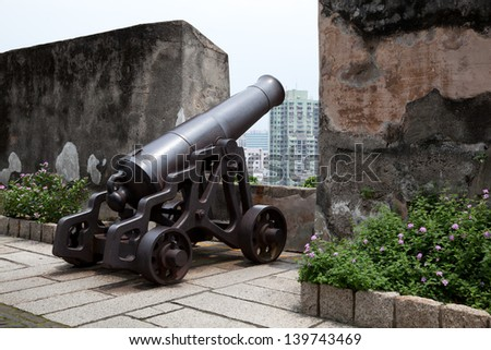 Antique cannon in Macau - stock photo