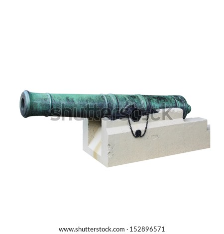 Antique cannon  isolated on white background - stock photo