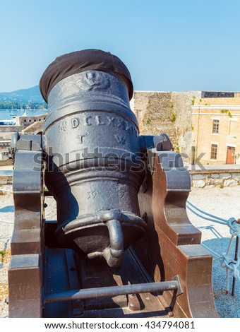 Antique Canon Inside old fortress, Kerkyra, Corfu island, Greece - stock photo