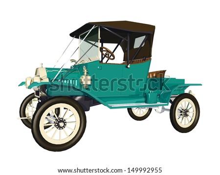 Antique Car Computer generated 3D illustration - stock photo