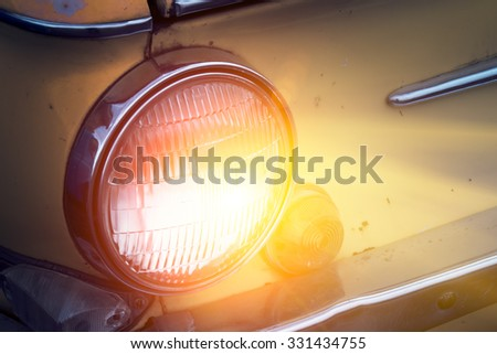 Antique car headlamp detail  - stock photo