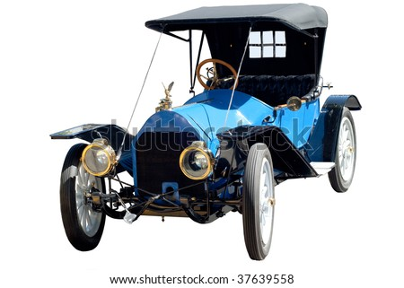 Antique car isolated on a white background - stock photo