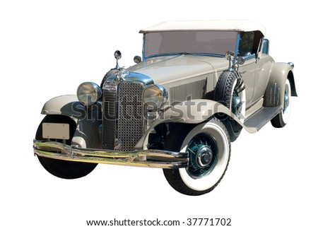 Antique car isolated on white - stock photo