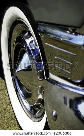 Antique car wheel - stock photo