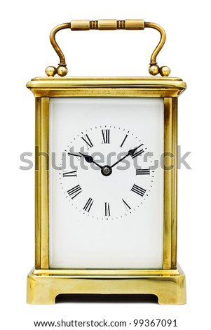 Antique Carriage Clock with Roman Numerals - stock photo