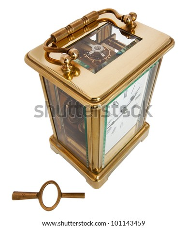 Antique Carriage Clock with Roman Numerals and key