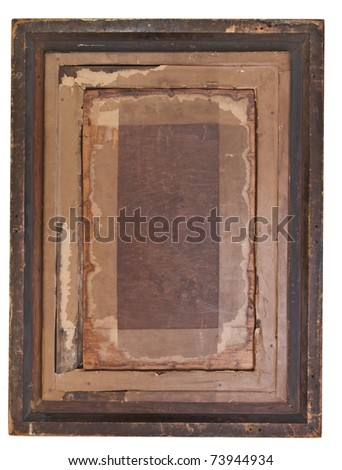 Antique carved gesso picture Frame isolated on white. - stock photo