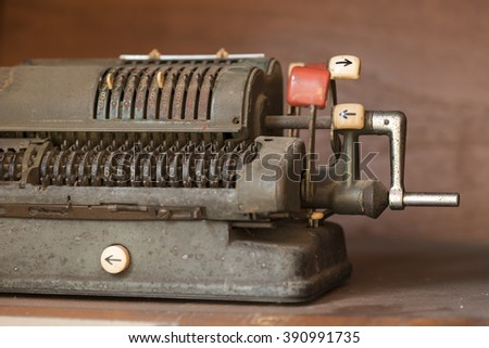 Antique cash  machine with mechanical counting - stock photo