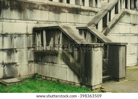 Antique castle stairs of castle. Made of old rock stone.  - stock photo