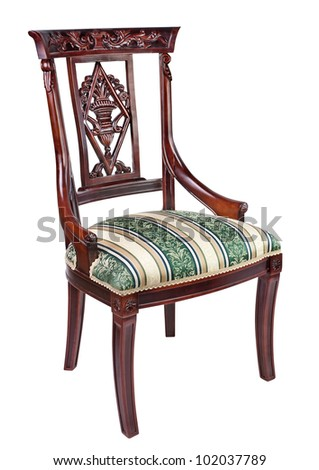 antique chair against white background