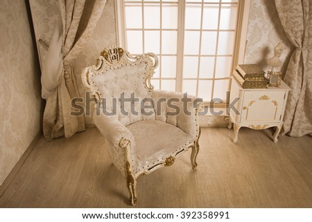 Antique chair at interior of a vintage style room