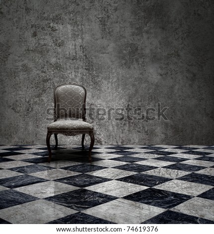 Antique chair in rough patina silver wall and checkered marble floor room - stock photo