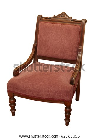 antique chair on white background with clipping path