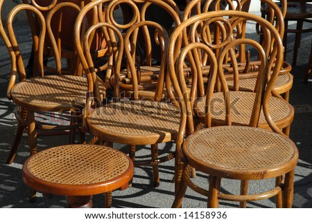 Antique chairs in a flea market