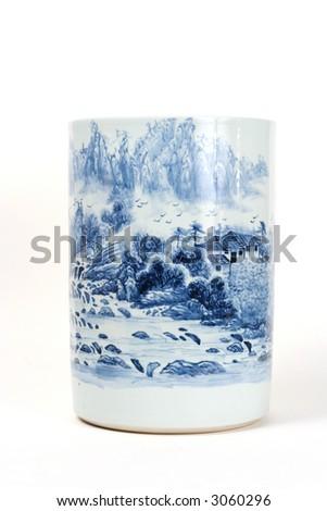 Antique Chinese blue painted porcelain vase - stock photo