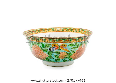 Antique Chinese Ceramic bowl isolate on white background - stock photo