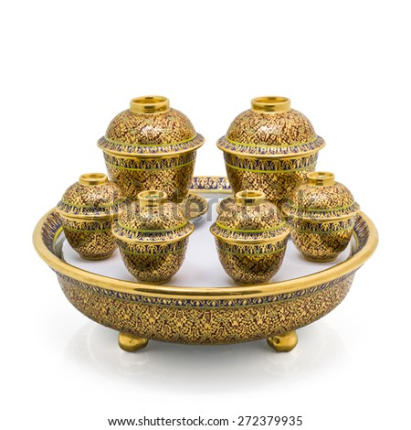 Antique Chinese tea bowl set,  isolated on white background - stock photo