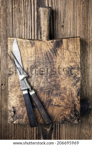antique chopping board - stock photo