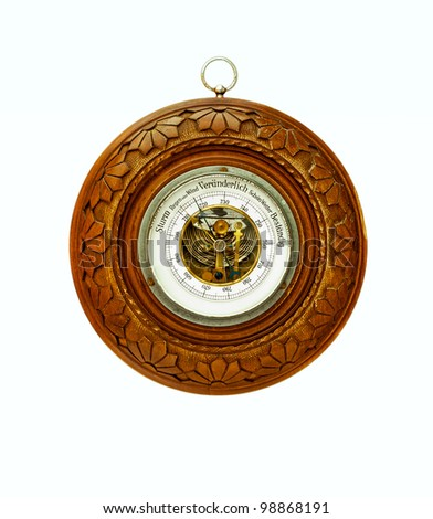 Antique circular barometer-isolated - stock photo
