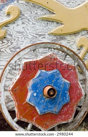 Antique Circus Wagon Wheel - stock photo
