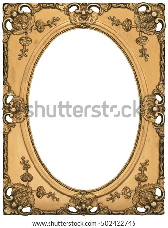 antique classic golden oval frame isolated on white background high resolution and high quality