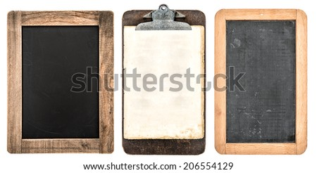 antique clipboard and chalkboard with wooden frame isolated on white background