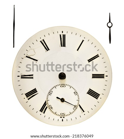 Antique clock face. Clockwise min-hour with clipping path - stock photo