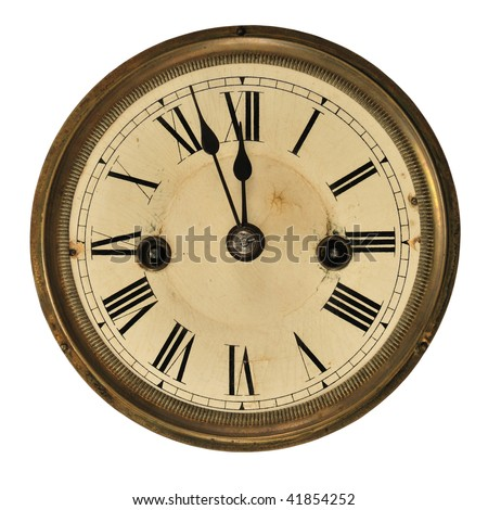 Antique clock face showing the time (three minutes to midnight), isolated on white. - stock photo