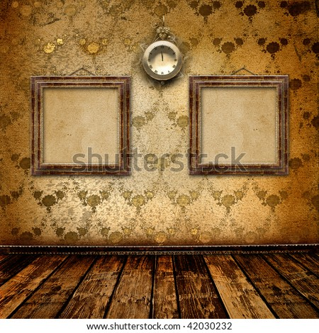 Antique clock face with lace and frames on the wall in the room