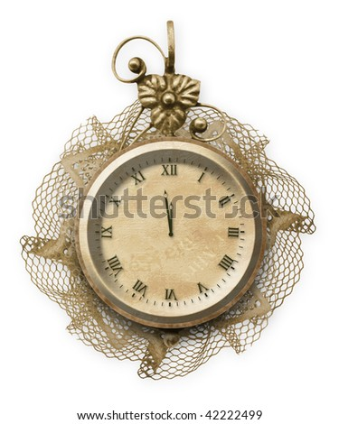 Antique clock face with lace on the white isolated background - stock photo