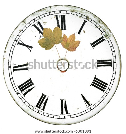 antique clock face with leaf clock hand isolated on white