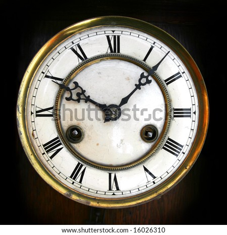 Antique clock face with roman numerals - stock photo