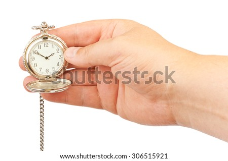 Antique clock in hand isolated on white background - stock photo