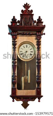 antique clock isolated on white - stock photo