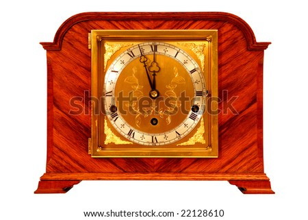 Antique clock, isolated on white - stock photo