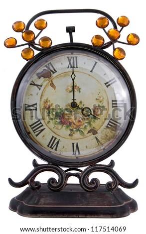 Antique clock isolated on white background - stock photo