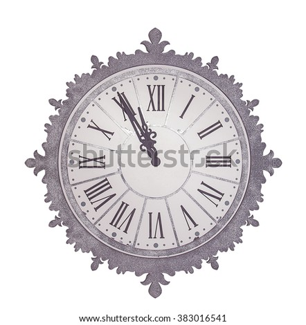 antique clock isolated on white background - stock photo