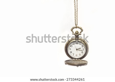 Antique clock vintage on white background.