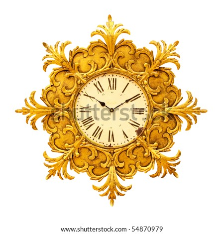 Antique clock with decorative frame and clipping path - stock photo