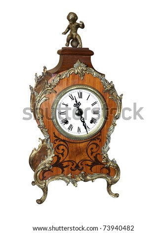 Antique Cluck with Cherub isolated with clipping path - stock photo