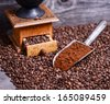 Antique coffee grinder with grinded coffee in scoop on beans - stock