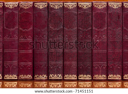 Antique collection of books bound in red leather with gilt writing on a reflective wooden shelf. With spaces for titles. - stock photo