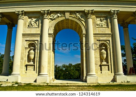antique colonnade - stock photo